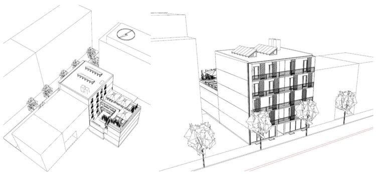 Skizze für das zweite Wohnheim